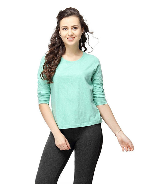 Sea Green Color Plain Casual T-Shirts For Girls Ladyindia49