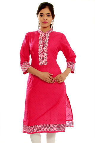 Casual Pink Cotton Kurta kurti With Embroidered Straight Cotton Kurtis