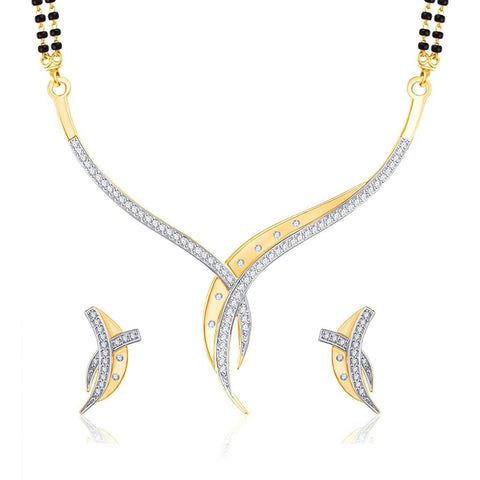 Designer Jewellery Sterling Gold And Rhodium Plated Alloy Mangalsutra Set With Earrings For Women