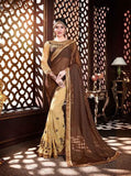 Designer Sarees In Georgette Brown & Cream Colored Floral & Heavy Embroidery Work Saree