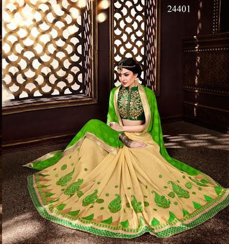 Latest Georgette Designer Sarees Cream & Green Colored Embroidered Saree