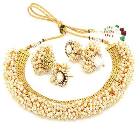 Exclusive Gold Plated Pearl Studded Traditional Temple Necklace Set / Jewellery Set With Earrings
