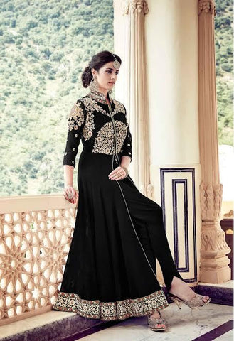 Partywear Black Colored 23679 Designer Georgette Anarkali Style Front Open Embroidered Salwar Suit