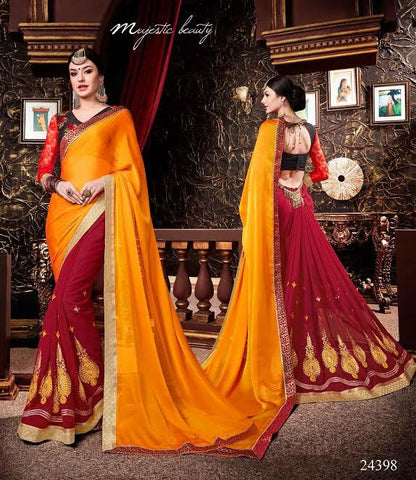 Designer Georgette Sarees Red & Orange Colored Georgette Patch & Embroidery Work Saree