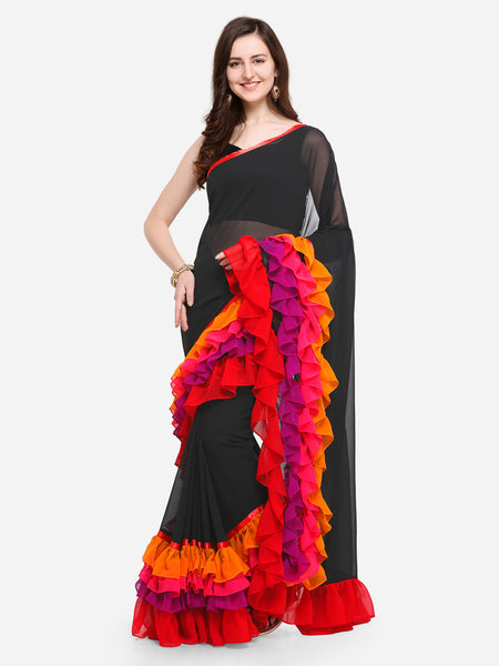 Black Plain Poly Georgette Multicolored Ruffle Saree