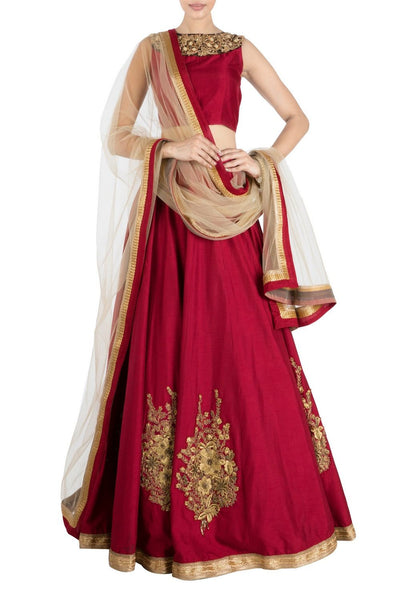 Designer Ruby Red Lehenga Choli & Golden Net Dupatta Set From Indain Fashion Designer Collection