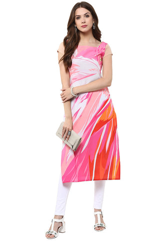 Printed Crepe Kurtis Casual Multicolor Long Straight Kurti And Kurtas For Girl