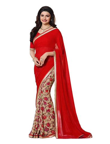 Designer Georgette Sarees With Floral Embroidery & Lace Border Work S015