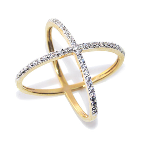 Premium Quality American Diamond Gold Plated Ring For Women