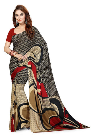 Beige & Red Color Saree Designer Printed Georgette Sarees  S075