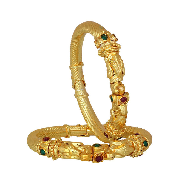 Designer Green, Maroon Gold Plated Brass Bangle Set  For Women