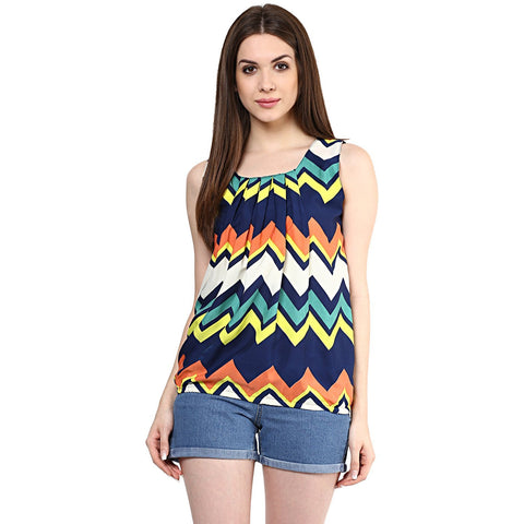 Multicolored Zigzag Stipes Pattern Girls Top Designer Sleeveless Lycra Printed Top