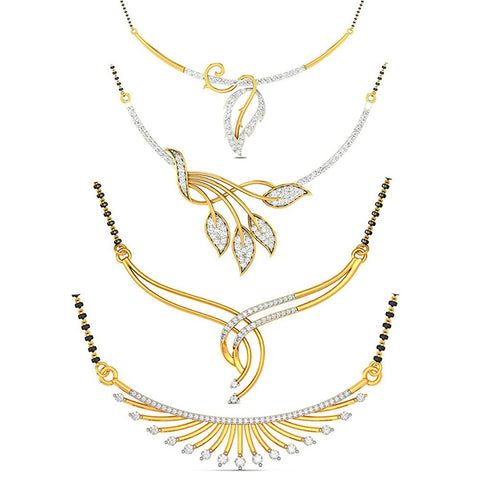 Combo Of Four Designer American Diamond Mangalsutra Pendant With Chain And Earrings For Women