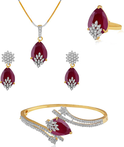 American Diamond Combo Of Pendant Set / Necklace Set With Earrings, Bracelet And Ring For Girls And Women