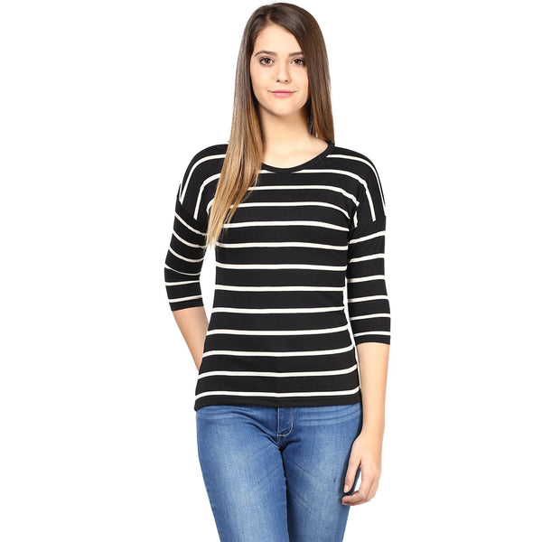 Black and White Color Stripped T-Shirts For Women Designer Raound Neck Stripes Pattern Top For Girls