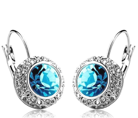 Blue Platinum Plated Crystal Clip-On Earrings For Women/Girls