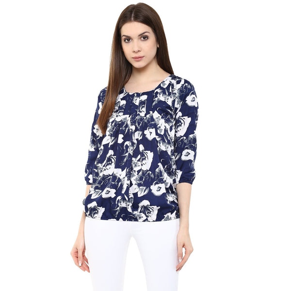 Blue & White Printed Tops For Girls Ladyindia63