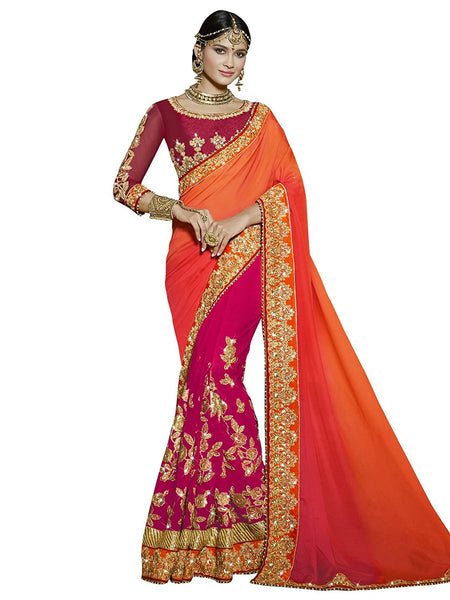 Designer Wedding Pink Georgette Party Wear Zari Embroidery,Stone,Sequins,Beads,Border Saree