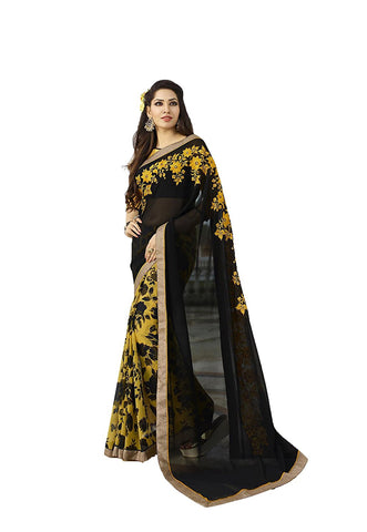 FS-31 Latest Festival Sarees Women's Designer Black & Yellow Floral Design Sarees