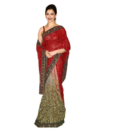 Bollywood Net Designer Heavy Red & Beige Deepika Padukone Net and Georgette Party Wear Net Saree