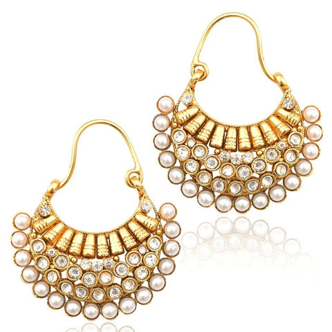 Designer Jewellery Pearl Hoop Earring For Women