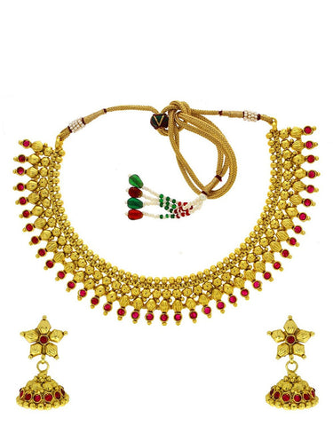 Jewellery Maroon Colour Designer Classy Shimmering Stone And  Beads Traditional Classy Necklace Set For Women