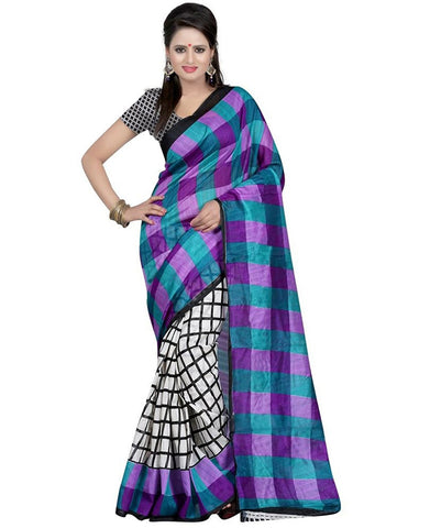 Bhagalpuri Cotton Sarees Blue Check Print Cotton Silk Saree