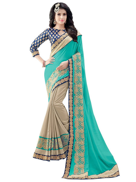 Women's Blue and Beige Faux Georgette Heavy Embroidery Wedding Wear Saree with Embroidered blouse