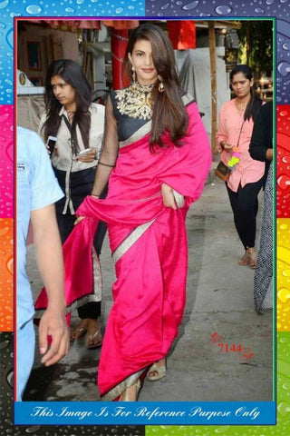 pink-plain-bollywood-sarees-jacqueline-fernandez's-bollywood-sarees-with-golden-lace-border-work