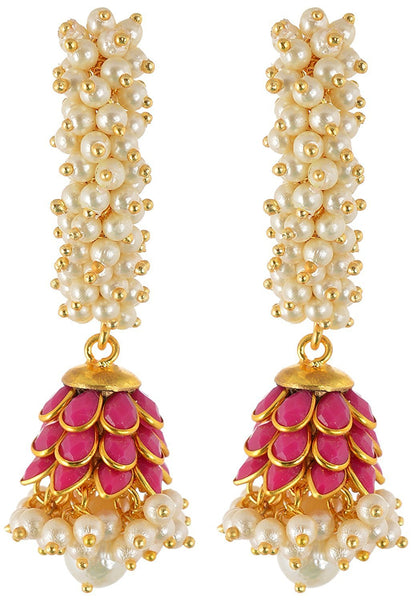 Rajasthani Traditions Pink Stone Studded Pearl Cluster Jhumki Earrings For Women & Girls