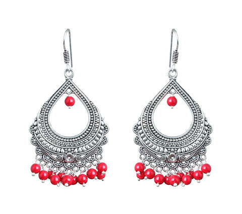 Elegant Pair Of Ten Color Pearls Silver Plated Bali Dangle & Drop Earring For All Occasions Wedding & Summer Collection