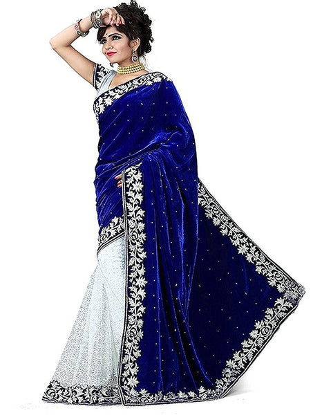 Designer Net Sarees Velvet & Net Saree With Broad Lace Border