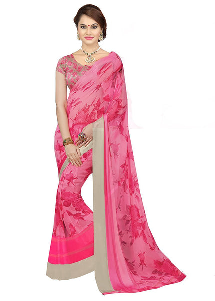 Trendy Pink Color Georgette Sarees With Floral Print & Silver Lace Border Work S050