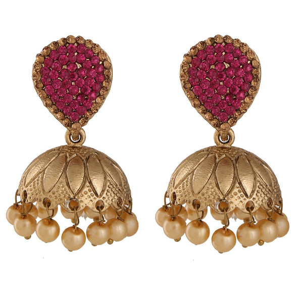 Designer Red Colour Alloy Big Dangler Jhumka Style Earring For Women