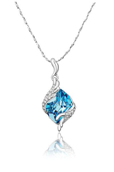 Crystal Angel Guardian 925 Silver Blue Crystal Pendant For Women
