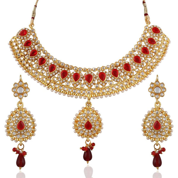 Maroon Kundan Necklace Set For Women