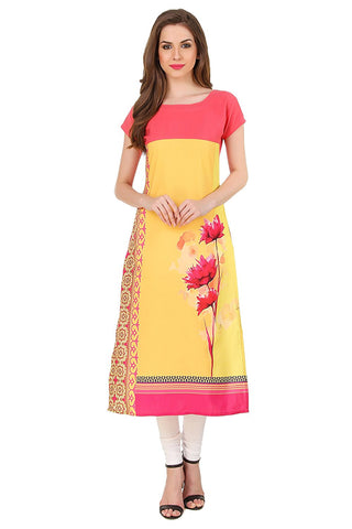 Pink And Yellow Designer Ladies Kurti Crepe Printed Long Kurta And Kurtis With Digital Print Work