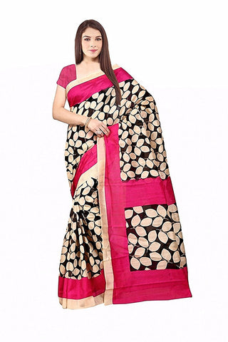 Latest Desigen Wear Sarees Collection In Pink-Color Bhagalpuri Silk Material Latest Design Sarees