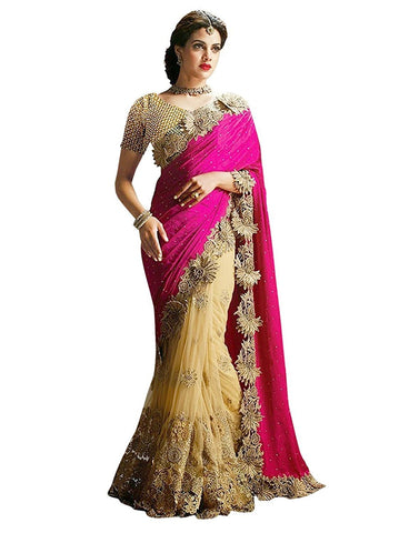 Partywear Georgette Pink And Beige Color Half And Half Designer Bridal Saree With Heavy Embroidery And Patch Work