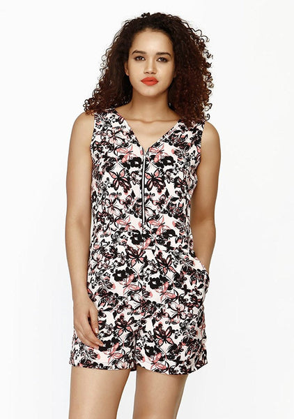 Black Color Butterfly Print Trendy Rompers For Girl