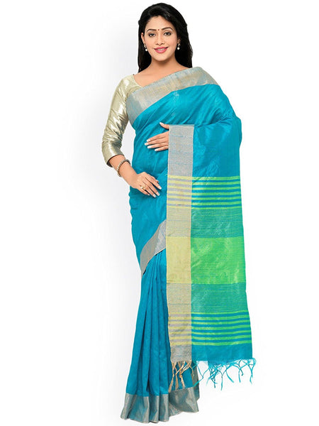 Skyblue Color Raw Silk Sarees With Stripes Design S034