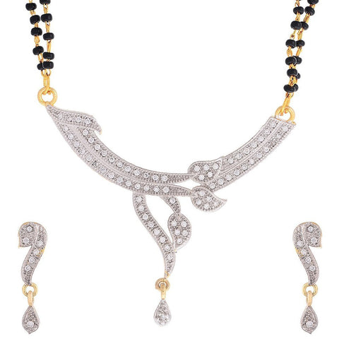 Latest Jewellery American Diamond Gold Plated Mangalsutra With Two Chain & Earrings For Women