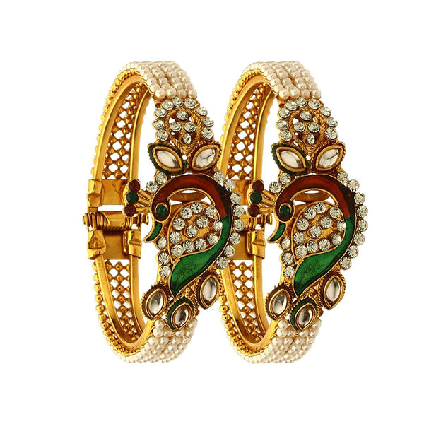 Dancing Peacock Antique Gold Plated Bangle Set For Women