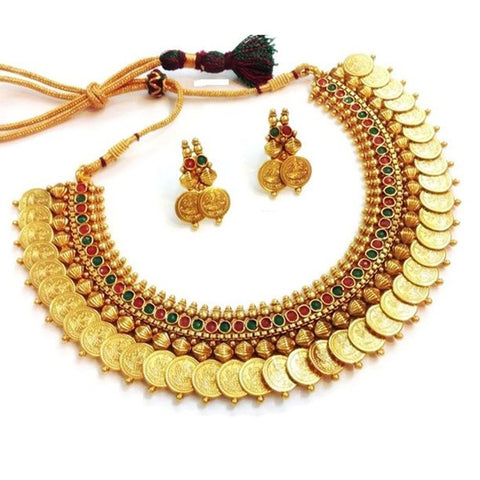 Traditional Red And Green Temple Coin Necklace Set/Jewellery Set With Earrings For Women