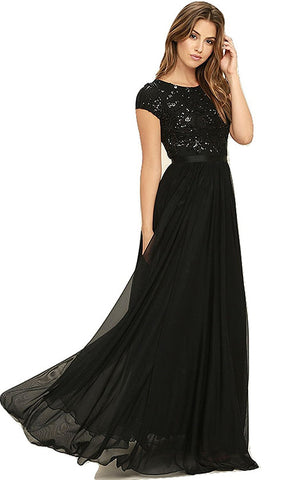Fancy Designer Black Sequence Dress