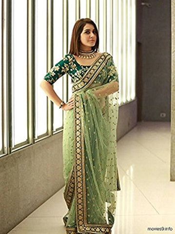 Designer Light Green Color Naylone Net Rashi Khanna Saree  Embroidered Party Wear Saree With Blouse Piece