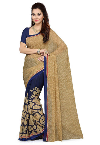 Cream & Navy Blue Color Faux Georgette Saree With Printed Work  S077