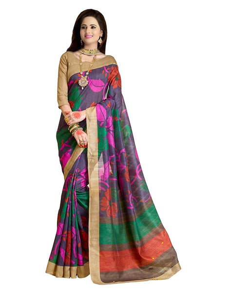 Multicolored Cotton Silk Sari With Lace Border Work Saree S099