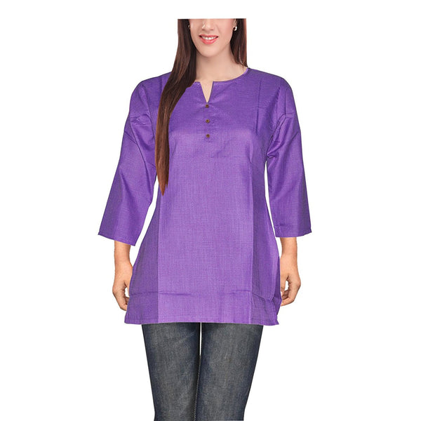 Plain Short Cotton Kurtas Purple Color Short Kurtis K6