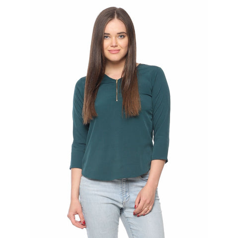 Online Shopping Dark Green Plain Polycrepe Casual Tops With Front Zip Ladyindia85